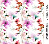 seamless pattern with colorful... | Shutterstock . vector #775034422