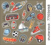 a set of stickers for the boy... | Shutterstock .eps vector #775036468