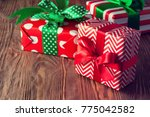 christmas gift box with... | Shutterstock . vector #775042582