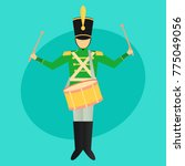 marching soldier drummer flat... | Shutterstock .eps vector #775049056