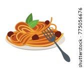 spaguetti food restaurant | Shutterstock .eps vector #775056676