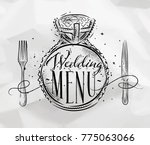 poster wedding ring lettering... | Shutterstock .eps vector #775063066