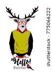 colorful illustration of deer... | Shutterstock .eps vector #775066222