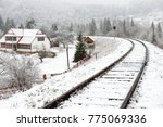 Railway In Snow. Winter...