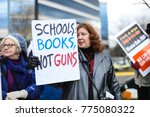 Small photo of Fairfax, VA - December 14, 2017: Protesters gather outside of the National Rifle Association headquarters for a vigil in remembrance of the 2012 Sandy Hook Elementary School massacre in Newtown.