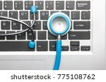 stethoscope on the computer   Shutterstock . vector #775108762