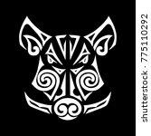 boar head stylized maori face... | Shutterstock .eps vector #775110292