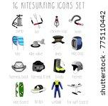16 kitesurfing icons set.color  ...   Shutterstock .eps vector #775110442