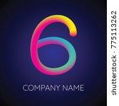 colorful blending number 6.... | Shutterstock .eps vector #775113262