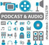 podcast   audio signs  icons ... | Shutterstock .eps vector #77512759