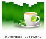 cup of black tea with tea... | Shutterstock .eps vector #775142542