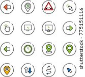 line vector icon set   left... | Shutterstock .eps vector #775151116