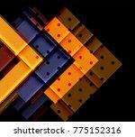 color arrows on black... | Shutterstock .eps vector #775152316
