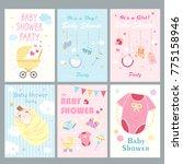 cute cartoon baby shower for... | Shutterstock . vector #775158946