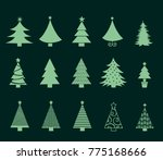 christmas trees icons set.... | Shutterstock .eps vector #775168666