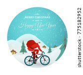 christmas new year card. santa... | Shutterstock .eps vector #775182952