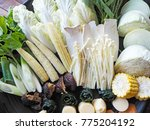 fresh vegetable on plate | Shutterstock . vector #775204192