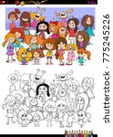 cartoon illustration of girls... | Shutterstock .eps vector #775245226