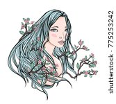 drawing of a beautiful girl... | Shutterstock . vector #775253242