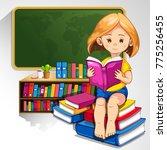 child reading books in the... | Shutterstock .eps vector #775256455