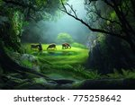 the shepherd with sheep in the... | Shutterstock . vector #775258642