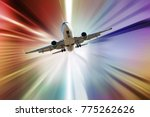 jet airplane in abstract sunset ... | Shutterstock . vector #775262626