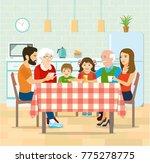 smiling big family having... | Shutterstock .eps vector #775278775