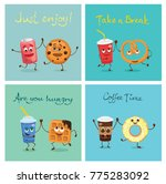 cartoon cards with funny... | Shutterstock .eps vector #775283092