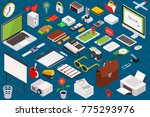 big set of isometric volumetric ... | Shutterstock .eps vector #775293976