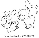 Stock vector playing kitten sketch 77530771