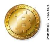 realistic 3d golden bitcoin... | Shutterstock . vector #775315876