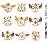 set of vector vintage emblems... | Shutterstock .eps vector #775344322