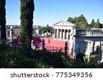 Small photo of San Simeon, CA. U.S.A. December 6, 2017. William R. Hearst Castle. San Simeon California State Historical Monument. Neptune outdoor pool. Neptune pool restoration