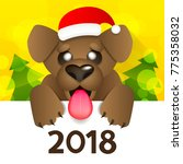 dog is a symbol of the 2018... | Shutterstock .eps vector #775358032