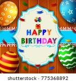 birthday design over wooden... | Shutterstock .eps vector #775368892