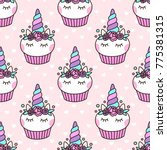 seamless pattern with cute... | Shutterstock .eps vector #775381315