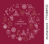 thin line merry christmas icons ... | Shutterstock .eps vector #775388932