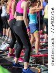 mini rebounder workout  girls... | Shutterstock . vector #775402756