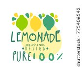 lemon pure 100 percent original ... | Shutterstock .eps vector #775406542