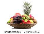 fresh fruit on white background | Shutterstock . vector #775418212