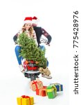 smiling couple with christmas... | Shutterstock . vector #775428976