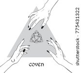 hands of three witches reaching ... | Shutterstock .eps vector #775431322