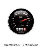 calendar 2018 in speedometer... | Shutterstock .eps vector #775432282