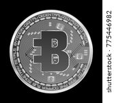crypto currency silver coin... | Shutterstock .eps vector #775446982