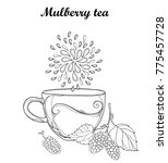 vector contour cup of mulberry... | Shutterstock .eps vector #775457728