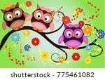 bright cute cartoon owls sit on ...   Shutterstock .eps vector #775461082