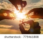 collaborate four hands trying... | Shutterstock . vector #775461808