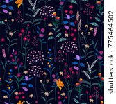 trendy  wild floral pattern in... | Shutterstock .eps vector #775464502