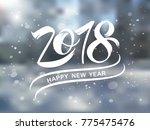 happy new year 2018  typography ...   Shutterstock .eps vector #775475476