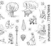 vector pattern walk in the park ... | Shutterstock .eps vector #775478848